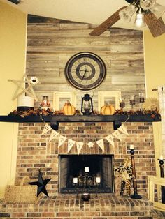 Reclaimed wood above fireplace