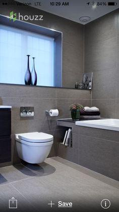 Bathroom Renovation Ideas: bathroom remodel cost, bathroom ideas for small bathrooms, small bathroom design ideas Grey Bathroom Tiles, Bathroom Layout, Modern Bathroom Design, Bathroom Interior Design, White Bathrooms, Interior Ideas, Grey Tiles, Bath Design, Master Bathrooms