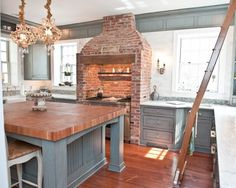 love the brick and the blue    Brick Fireplace Design, Pictures, Remodel, Decor and Ideas - page 10