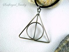 Deathly Hollows silver pendant  Elegant sterling silver wire