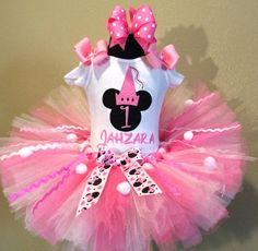 Pink Princess Minnie Mouse Girls Birthday Tutu Outfit