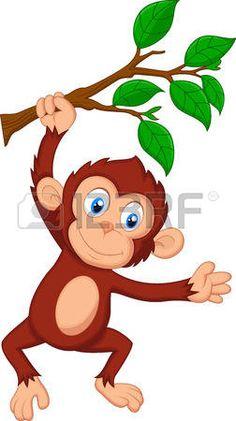 Bande dessin�e mignonne de singe suspendu photo