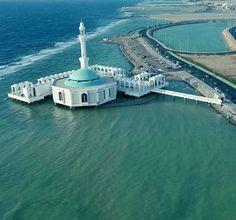 Masjid terapung laut merah di kota Jeddah Saudi Arabia, dulunya bernama Masjid Fatimah, lalu diganti dengan nama Masjid Arrahmah. (foto d...