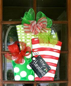 Christmas Presents Door Hanger - Bronwyn Hanahan Original.so many possiblities and variations! from cardboard cut outs to Christmas Door, Christmas Signs, Winter Christmas, All Things Christmas, Christmas Time, Christmas Wreaths, Christmas Decorations, Christmas Ornaments, Burlap Crafts
