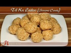Til Ka Ladoo - Sesame Candy - Manjula's Kitchen - Indian Vegetarian Recipes Indian Dessert Recipes, Indian Sweets, Sweets Recipes, Candy Recipes, Dog Food Recipes, Vegetarian Recipes, Snack Recipes, Indian Recipes, Breakfast Recipes