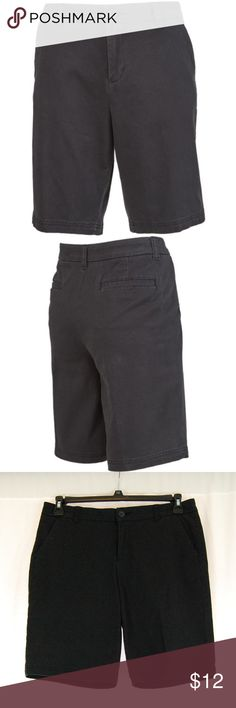 """Black """"Roughin' It"""" Bermuda Shorts """"Roughin' it bermuda"""" Women's Active Lifestyle series  Single button and zip fly.  GOLF / ACTIVE / WARM WEATHER / OUTDOOR / BERMUDA SHORTS  Great condition with no pilling or holes.  There is a slightly faded look to these, but that is actually the way they appear new as well (see pics).  Approximate measurements (taken flat): Waist =- 16"""" Inseam = 9.5"""" Front Rise = 9.5"""" Leg Opening = 9.5"""" bcg Shorts Bermudas"""