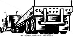 illustration of a truck and trailer viewed from the rear #flatbedtruck #woodcut #illustration