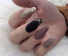70 Matte Black Coffin Nail Ideas Trend in Cool 2019 Coffin Nails Nail Art Designs, Winter Nail Designs, Nails Design, Black Coffin Nails, Matte Black Nails, Blue Nails, Winter Nail Art, Winter Nails, Autumn Nails