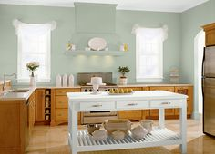 This is the project I created on Behr.com. I used these colors: JOJOBA(N390-3),FALLING SNOW(PPU18-07),