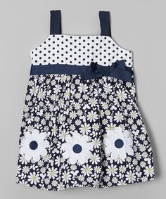 Another great find on #zulily! Sweet & Soft Navy & White Floral Babydoll Dress - Infant & Toddler by Sweet & Soft #zulilyfinds