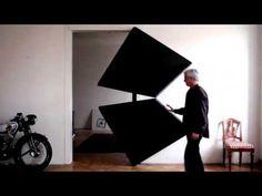Sliding geometric door.