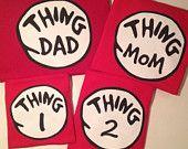 Thing 1, Thing 2, Thing Mom, Thing Dad, Dr. Seuss Shirts Adults Kids Birthday Family Reunion Custom Personalized Red Tshirts