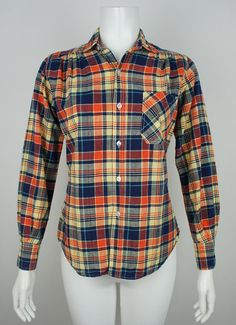 Vintage Ladies Indian Madras Plaid Shirt size by foundationvintage