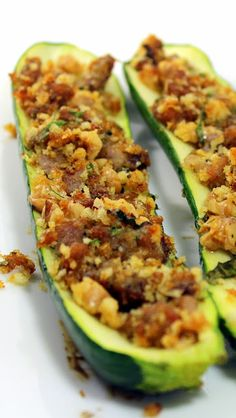 Grilled Herb and Sausage Stuffed Zucchini PIZZA - Grilling Time... Another GREAT BBQ Side Dish.  And Look... Side dishes stuffed with MEAT! Makes you proud to be an American!!!  The Zucchini makes a great Crust for the stuffing filled with all the ingredients of a pizza topping... Sausage, Sauce and Cheese (and a few extras)  DELICIOUS, GRILLED and a Fantastic Side Dish for any BBQ