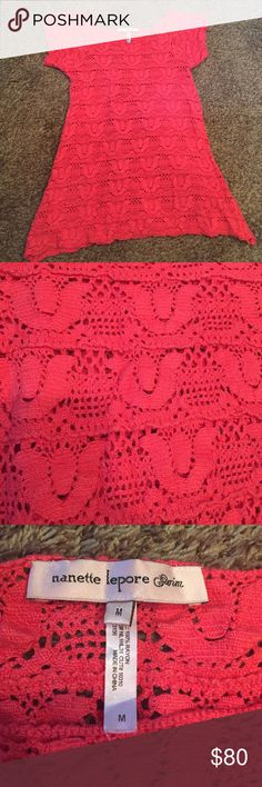 Nanette Lepore swimsuit coverup Nanette Lepore swimsuit coverup- gorgeous coral pink color. Worn a few times but in good condition. Nanette Lepore Swim Coverups