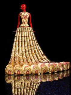 Guo Pei, dress from The Legend of the Dragon Fashion Show, 2012, back