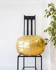 GOLD LEATHER POUF – Milsouls Moroccan Leather Pouf, Gold Leather, Decorating Your Home, Outdoor Spaces, Im Not Perfect, Ottoman, Sweet Home, This Or That Questions, Chair
