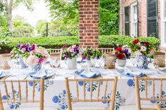 Tory Burch's table setting featuring Tory's new spongeware collection