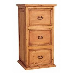 Rustic Pine File Cabinet - 3 Drawer