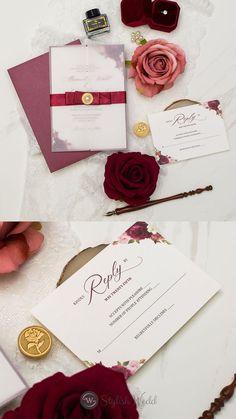 vintage vellum wedding invitation with silk band and pearl embellishment #weddinginvitations#wedding#vellumweddinginvitations