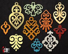 10 Leather / Wood / Acrylic Damask Earring Pendant Templates Vector Digital SVG DXF Jewelry Cut Files Download Laser Die Cutting JB-1088