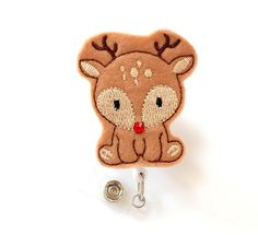 Baby Reindeer - Felt Name Badge Holder - Cute Badge Reel - Christmas ID Badge Clips - Holiday Badge Reel - Peds Nurse Badge - BadgeBlooms Id Badge Clip, Nurse Badge, Badge Reel, Bridal Shower Registry, Felt Name, Name Badges, Felt Applique, Good Cause, Badge Holders