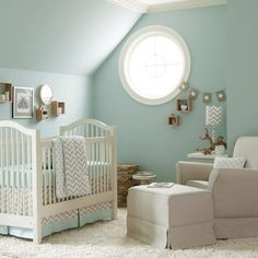 Baby Nursery: Casual Unisex Baby Nursery Room Decoration Using Blue Grey Baby Bed Valance Including Round White Window And Light Blue Wall Paint, unisex baby nursery, baby bedding set ~ coolhousez - Inspiring Home Interior And Exterior Design Ideas Baby Crib Bedding, Baby Bedroom, Baby Boy Rooms, Baby Boy Nurseries, Baby Cribs, Nursery Room, Girl Nursery, Aqua Nursery, Chevron Bedding