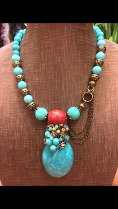 Amazonite with red jade necklace by Vincent Ku