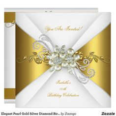 Elegant Pearl Gold Silver Diamond Birthday Party A Card