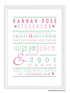 Personalised birth print from Ollie's Room. $20 each and available in over 100 colour schemes.  www.olliesroom.com.au