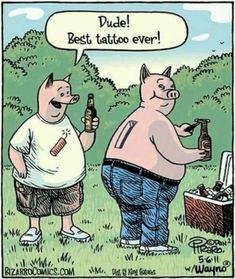 Best pig tattoo US Humor - Funny pictures, Quotes, Pics, Photos, Images Cartoon Jokes, Funny Cartoons, Funny Comics, Haha Funny, Funny Jokes, Hilarious, Funny Stuff, Fun Meme, Funny Pigs