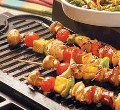 Chicken, Pineapple & Veggie Shish Kabobs recipe -- perfect for an afternoon of grilling Kabob Recipes, Grilling Recipes, Meat Recipes, Chicken Recipes, Cooking Recipes, Healthy Recipes, Grilling Tips, Yummy Recipes, Recipies
