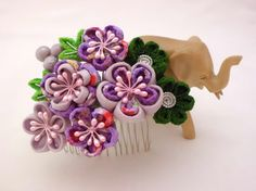 Tsumami Kanzashi Hair Comb Pine Bamboo PURPLE and by JagataraArt
