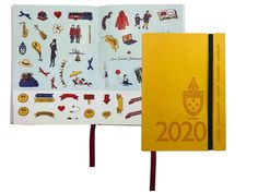 St Catherine's 2020 Student Diary in yellow flexibound with cover deboss, elastic wrap, red ribbon, sticker sheet and tab cutting. Student Diary, A5 Diary, Red Ribbon, Diaries, Stickers, Yellow, Cover, Artwork, Work Of Art
