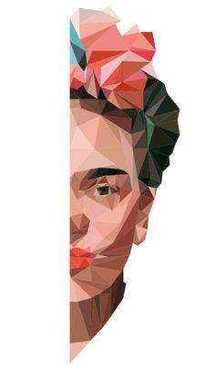 Art And Illustration, Fridah Kahlo, Art Sketches, Art Drawings, Frida Kahlo Portraits, Kahlo Paintings, Frida Art, Polygon Art, Geometric Art
