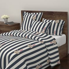 Wyandotte Duvet Cover featuring stripes and Baseballs -vertical 1951Ri-  navy cream PERSONALIZED James by drapestudio | Roostery Home Decor
