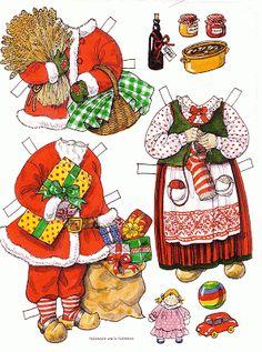 Bonecas de Papel: Papai Noel e Mamãe Noel