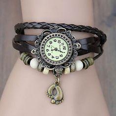 Vintage Pied Pendentif en cuir de style de quartz de bande analogique bracelet des femmes (couleurs assorties) – EUR € 8.49