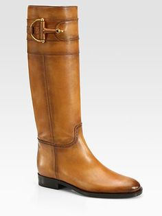 Gucci Class Tall Burnished Leather Horsebit Boots