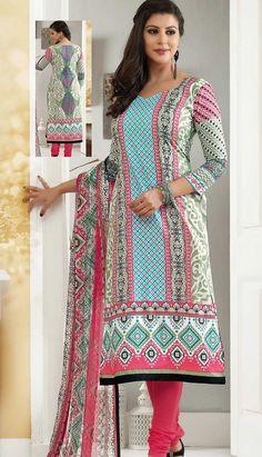 Beautiful Traditional Turquoise Cotton Churidar Kameez Printed Dresses,