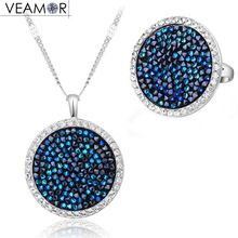 SALE $45.44 - VEAMOR Pave Crystals Round Necklace Ring Jewelry Sets White Gold Color Luxury Party Women Jewelry Made With Swarovski Crystal