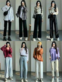 Korean Girl Fashion, Korean Fashion Trends, Korean Street Fashion, Ulzzang Fashion, Korea Fashion, 70s Fashion, Asian Fashion, Fashion Vintage, High Fashion