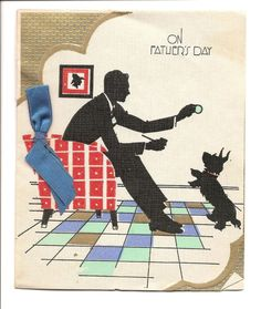 Original Art Deco Style Father's Day Card Silhouette Dad Scottie Dog Vintage