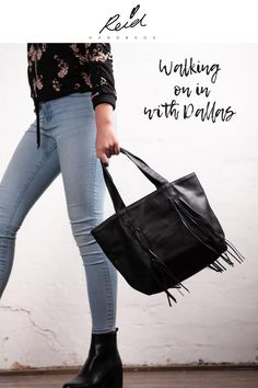 Relaxed leather fringe tote, with zipped inner pocket and one open pocket on opposite side. Also available in Latte. Share your style and on . Leather Fringe, Leather Handbags, Latte, Your Style, Pocket, Fashion, Dahlias, Coffee Milk, Moda