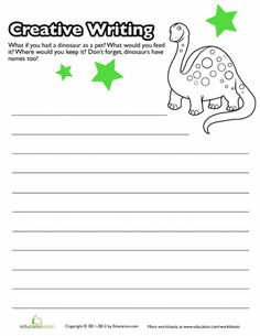 Fourth Grade Reading & Writing Worksheets: Creative Writing for Kids: Pet Dinosaur Creative Writing Pictures, Creative Writing Worksheets, Creative Writing For Kids, Creative Writing Exercises, Writing Practice Worksheets, Cool Writing, Kids Writing, Writing Ideas, 3rd Grade Writing Prompts