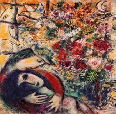 Marc Chagall & Silvio Rodriguez = Poesia. : [b]Oleo de mujer con sombrero[/b]        Una mujer se ha perdido     conocer el delirio y el polvo,     se ha perdido esta bella locura,     su breve cintura debajo de mí.     Se ha perdido mi forma de amar,     se ha perdido mi huella en su mar.      Veo una luz que vacila     y promete dejarnos a oscuras.     Veo un perro ladrando a la luna     con otra figura que recuerda a mí.     Veo más: veo que no me ...