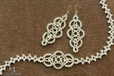 Tatted set of necklace and earrings Bridal by LacyLoveJewelry by esmeralda