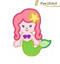Mermaid applique machine embroidery design instant download
