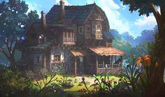 House with stables, OKU (K.I Kim) on ArtStation at http://www.artstation.com/artwork/house-with-stables