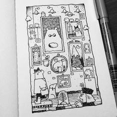 Dave Garbot — An Evening at the Gallery #illustration #drawing...